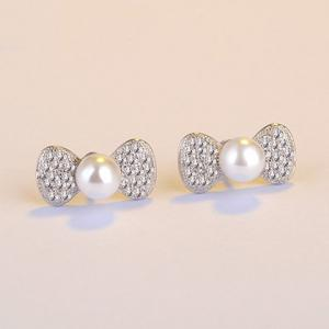 Rhinestone Bowknot Fake Pearl Stud Earrings