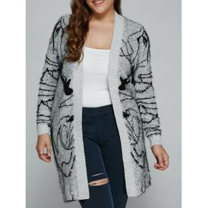 Plus Size Print Thick Sweater Cardigan - Gray - Xl
