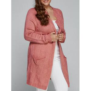 Plus Size Fisherman Knitted Pocket Long Cardigan - Light Pink - 2xl