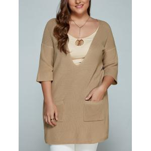 Plus Size Plunge Neck Front Pocket Knitwear - Light Khaki - 2xl