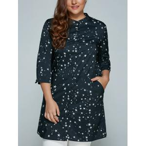Plus Size Stars Printed Loose Sun-Proof  Coat - Black - 3xl