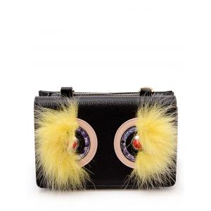 Color Block Faux Fur Rivets Crossbody Bag