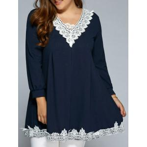 Baggy Lace Spliced Blouse - Purplish Blue - L