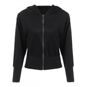 Hooded Loose Zip-Up Jacket - Black - Xl