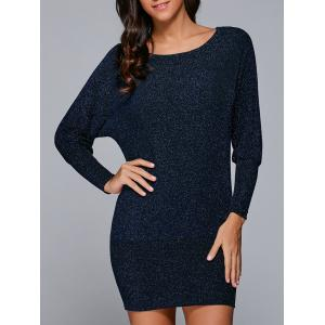 Batwing Sleeves Glittery Bodycon Dress