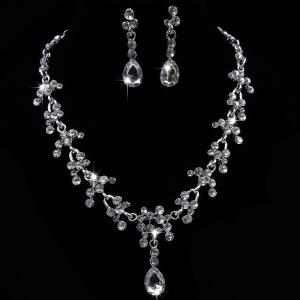 Wedding Floral Tear Shape Necklace Set - White - One-size