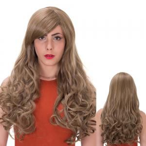 Flax Highlights Long Side Bang Wavy Impressive Synthetic Wig