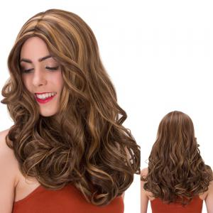 Double Color Long Centre Parting Wavy Synthetic Wig