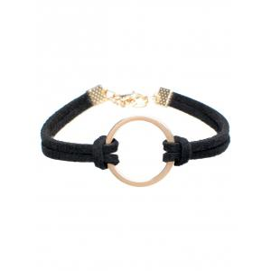 Layered Velvet Ring Charm Bracelet - Black - One-size