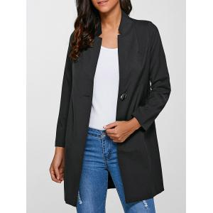 Single-Buttoned Slimming Coat - Black - 3xl