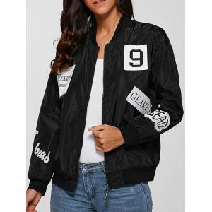 Zip Design Letter Print Bomber Jacket - Black - M