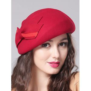 Streetwear Double-Deck Bowknot Felt Beret - Red - One Size