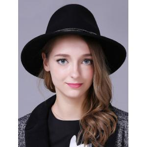 Streetwear Knotted Double Rivet Bands Felt Jazz Hat - Black - 37