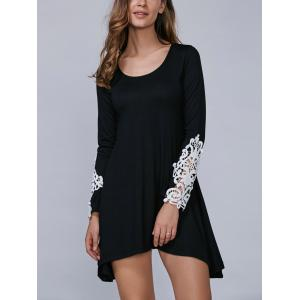 Asymmetric Long Sleeve Mini Dress with Lace