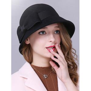 Big Bowknot Band 1920s Felt Cloche Hat - Black