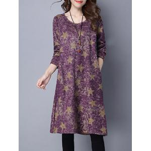 Star Print Loose-Fitting Dress