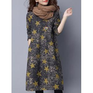 Star Print Loose-Fitting Dress - Deep Gray - M
