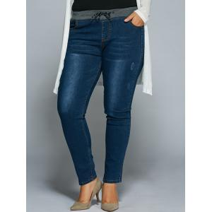 Plus Size Drawstring Bodycon Jeans - Denim Blue - 2xl