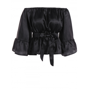 Off The Shoulder Satin Belted Blouse - Black - M