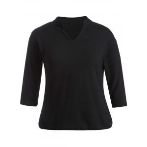 Plus Size V-Neck 3/4 Sleeve T-Shirt