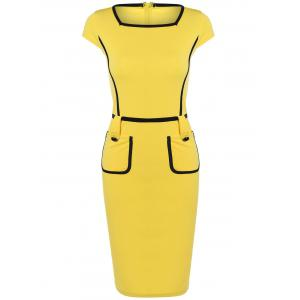 Cape Sleeve Pocket Spliced Pencil Dress