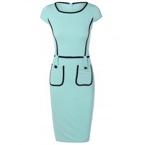 Cape Sleeve Pocket Spliced Pencil Dress - Turquoise - L