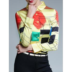 Fitted Color Block Geometric Screen Print Shirt
