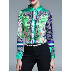 Long Sleeve Fitted Tribal Printed Shirt