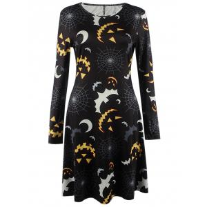 Bat Print Long Sleeve Mini Halloween Swing Dress - Black - L