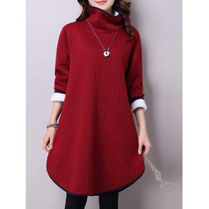 Textured High Neck Fleece Dress