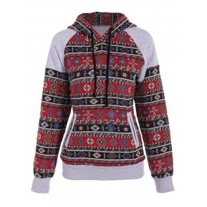 Front Pocket Pullover Jacquard Hoodie - Colormix - S