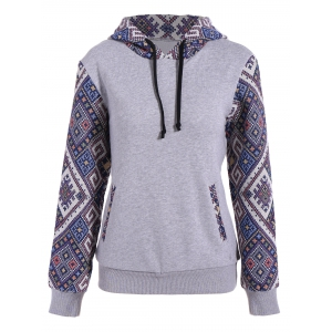 Front Pocket Jacquard Panel Hoodie - Gray - S