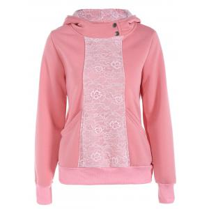 Lace Panel Pullover Hoodie