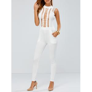 Lace Up Skinny Leg Jumpsuit - White - S