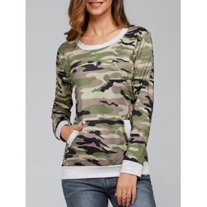 Long Sleeve Pocket Army Camo T-Shirt - Camouflage - M