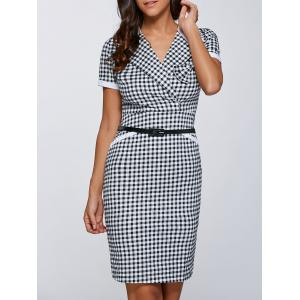 Surplice Gingham Belted Sheath Dress