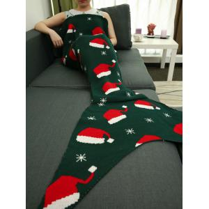 Christmas Hat Pattern Knitted Wrap Mermaid Tail Blanket - Blackish Green - M