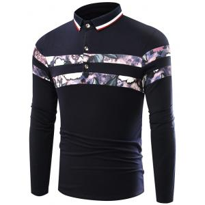 Floral Print Splicing Stripe Turn-Down Collar Long Sleeve T-Shirt