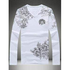 Plus Size Roses Print V-Neck Long Sleeve T-Shirt