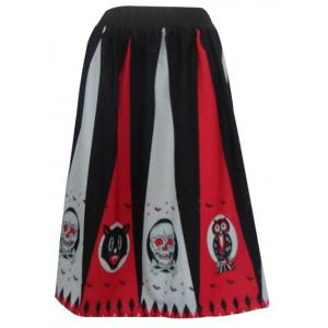 Skull Pattern Spliced Halloween Swing Skirt - Orange Red - Xl