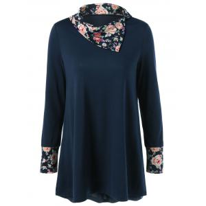 Side Collar Floral Trim Blouse - Purplish Blue - M