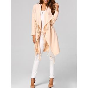 Fringed Open-Front Asymmetrical Trench Coat