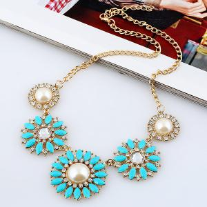 Rhinestone Faux Pearl Sunflower Pendant Necklace