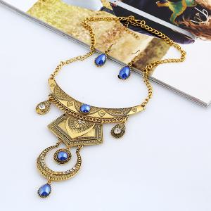 Faux Gem Engraved Moon Jewelry Set - Blue And Golden