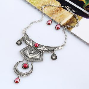 Faux Gem Engraved Moon Jewelry Set