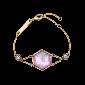 Faux Gem Rhinestone Hexagon Bracelet