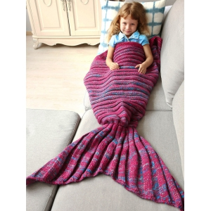 Thicken Soft Knitted Sleeping Bag Kids Wrap Mermaid Blanket - Blue And Red - S