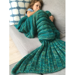 Thicken Soft Knitted Sleeping Bag Kids Wrap Mermaid Blanket - Green - S