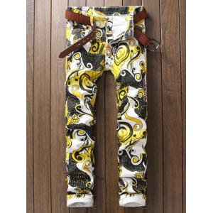 Ornate Printed Zipper Fly Casual Pants - White - 29