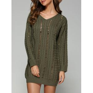 Casual V Neck Openwork Cable Knit Jumper Dress - Blackish Green - One Size